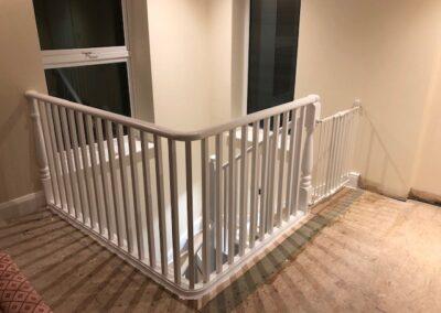 White wood staircase