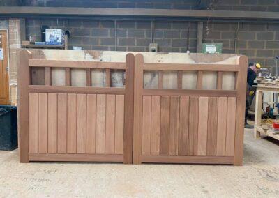 Sapele hardwood driveway gates
