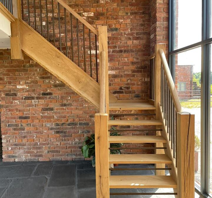 Rustic style staircase made from character grade European Oak